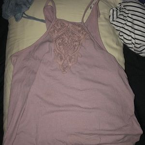 Pink lace front tank.